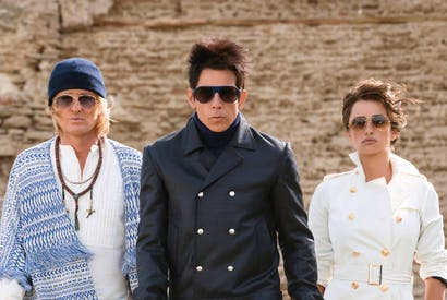 Owen Wilson as Hansel, Ben Stiller as Derek Zoolander and Penélope Cruz as Valentina Valencia