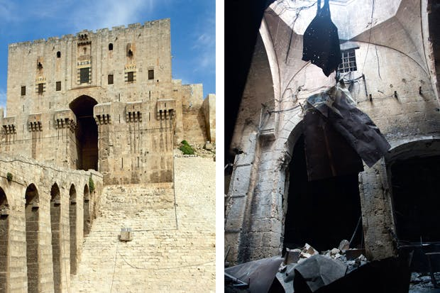 Left: The main gate to the mighty citadel has withstood centuries of invasion. Now much scarred, it presides over a bombed-out city, including the wrecked medieval souq (above), until recently the world's largest and most vibrant covered historic market and Unesco world heritage site