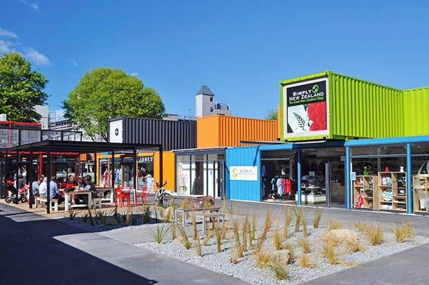 Rebuilding phase: shipping-container shopping in Christchurch