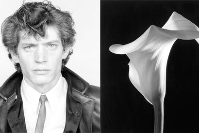 'Like Georgia O'Keefe, Mapplethorpe eroticised flowers — possibly finding them more biddable than his frisky partners in gimp masks and chains.' Left: Self-portrait, 1982. Right: Calla Lily