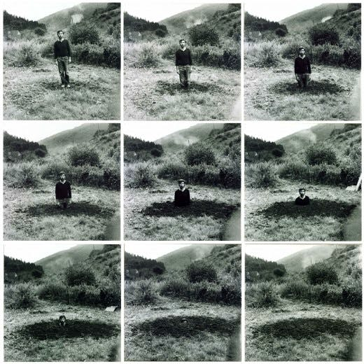 Keith Arnatt's 'Self-Burial (Television Interference Project)',  1969