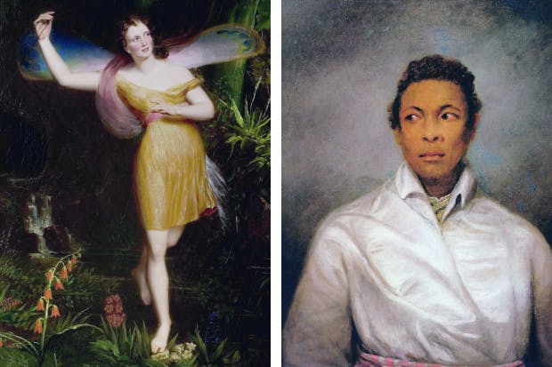 Left: Priscilla Horton as Ariel in The Tempest, by Daniel Maclise, 1838. Right: Ira Aldridge as Othello by James Northcote, 1826.