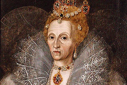 Not-so-Gloriana: Queen Elizabeth I in her early sixties. (Studio of Marcus Gheerarts the Younger, c. 1596)