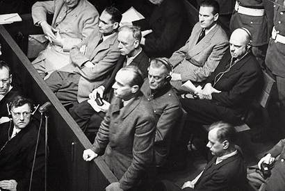Nazis in the dock: Hans Frank replies to questioning during the Nuremberg Trials