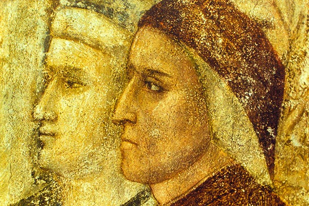 Portrait of Dante in Giotto's fresco in the Podestà Chapel, the Bargello, Florence
