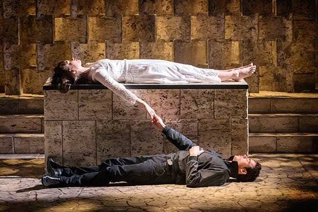 Lily James as Juliet and Richard Madden as Romeo