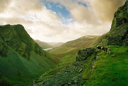 Honister Pass in the Lake District. The ragged granite fells of Cumbria account for nearly half the cols in England