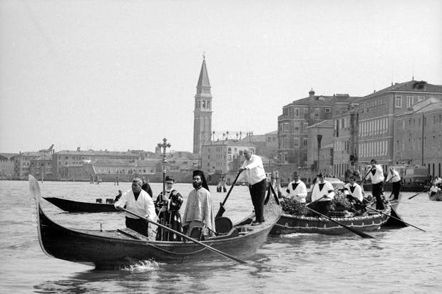 Igor Stravinsky's body being carried through Venice to the Basilica of San Zanipolo, where, by papal dispensation, a Russian Orthodox service was held