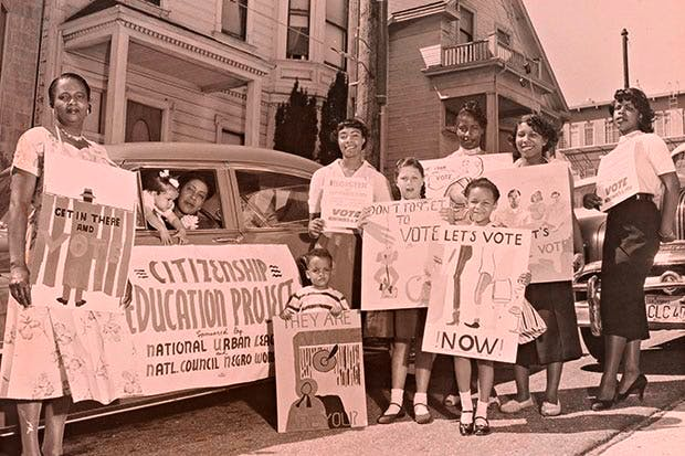 We, too, are America: children and members of the San Francisco chapter of the National Council of Negro Women at a voter registration motorcade, 1956
