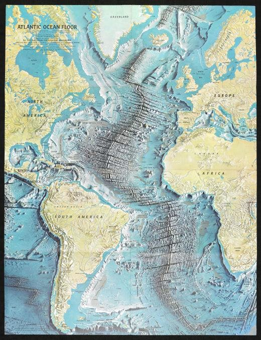Map of the Atlantic Ocean floor, by Heinrich Berann, for National Geographic Magazine, June 1968. Photo: National Geographic