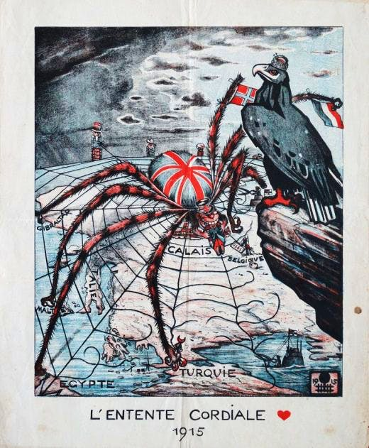 German propaganda poster: a spider with the face of John Bull devours a French soldier at Calais. Photo: British Library