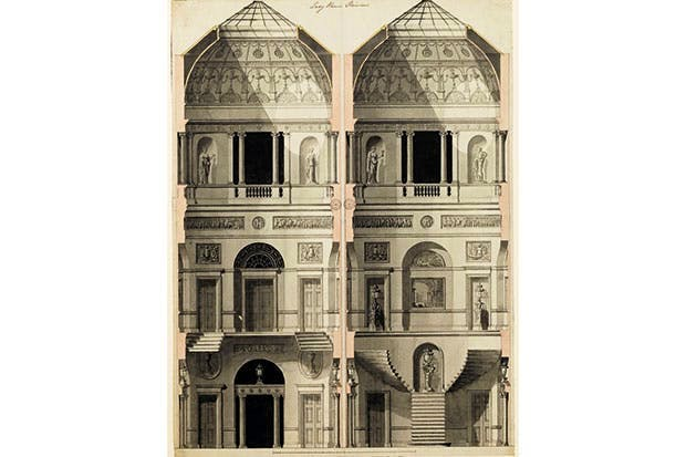 The white stuff: drawing showing sections of the stucco interiors at 20 Portman Square, c.1775, by Robert Adam