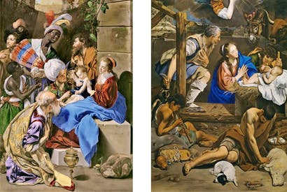 Left: Maíno, 1612–14: 'The Adoration of the Kings' Right: 'The Adoration of the Shepherds'
