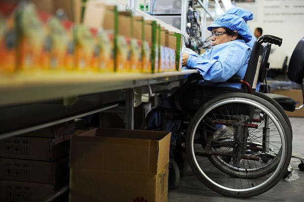A worker on a wheelchair