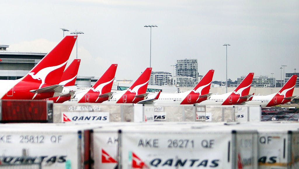 Qantas planes sit grounded at Sydney Int