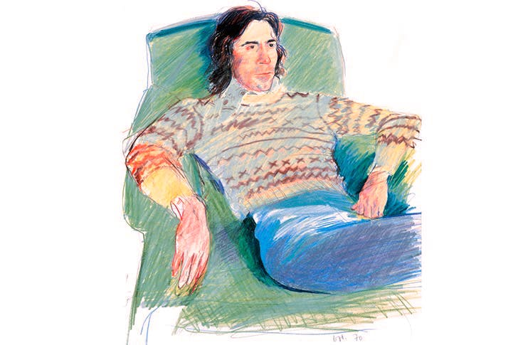 'Ossie Wearing a Fairisle Sweater', 1970, by David Hockney