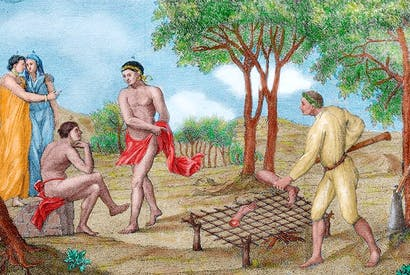 Maipure Indians, inhabitants of the Upper Orinoco, grill the limbs of a dead enemy (Italian engraving, 1781)