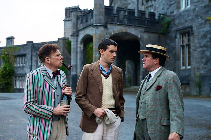 Vincent Franklin (Mr Prendergast), Jack Whitehall (Paul Pennyfeather) and Douglas Hodge (Captain Grimes) in 'Decline and Fall'