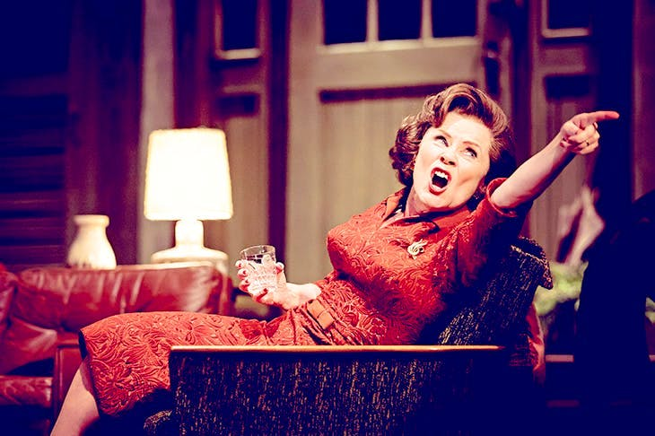A nest of vipers forced into a skirt and cardigan: Imelda Staunton as Martha in 'Who's Afraid of Virginia Woolf?'