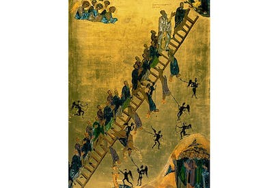 'The Ladder of Divine Ascent', 12th century, from St Catherine's Monastery, Sinai, Egypt. (This image and one below from Chromaphilia, by Stella Paul). akg-images/Erich Lessing