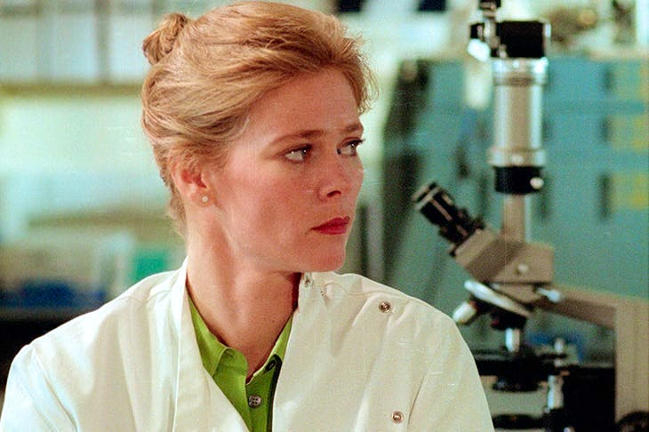 The chick and the dead: Clare Holman plays the pathologist Dr Laura Hobson in Inspector Morse. Rex images.