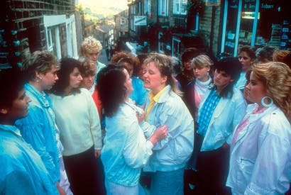 Sweet and sour: Michelle Holmes (Sue, centre) and Siobhan Finneran (Rita, centre right) in 'Rita, Sue and Bob Too'