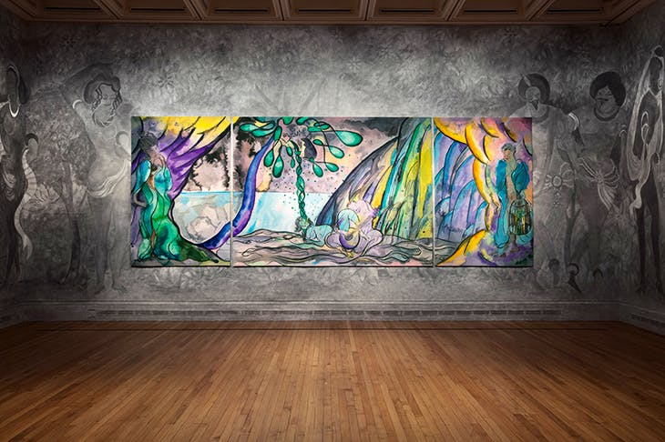'The Caged Bird's Song', 2014–2017, by Chris Ofili