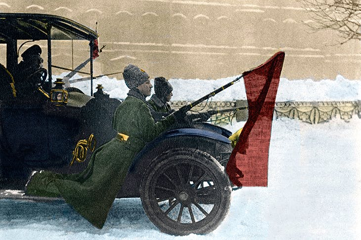 After the abdication of the Tsar, imperial soldiers join the revolution in 1917