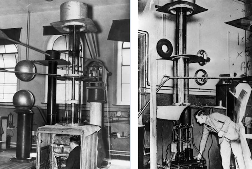 1932. Right, John Cockcroft adjusts a pump at the Cavendish Laboratory's atom splitter. Left, Ernest Walton sits working in the detector of a Cockcroft-Walton generator.