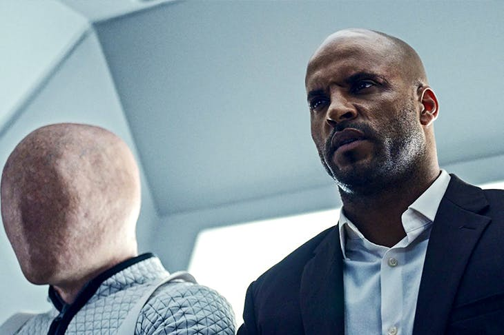 The bemused protagonist with a stupid name: Ricky Whittle as Shadow Moon in American Gods