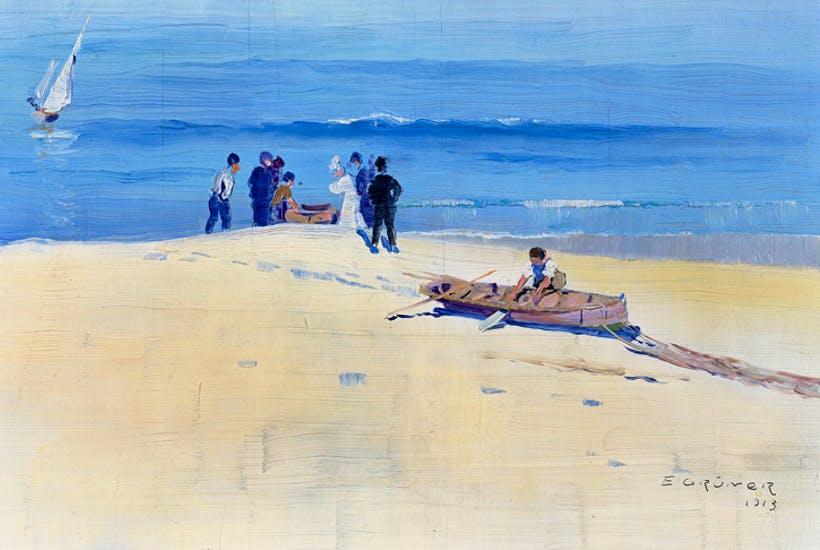 ELIOTH GRUNER 1882-1939 Fisherman, Coogee Beach 1913 oil on wood, 19 x 28 cm