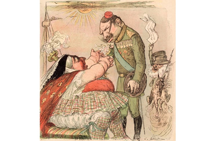 The 80-year-old queen is caricatured in the French satirical magazine Le Rire, greeting her nephew the Kaiser (December 1899)