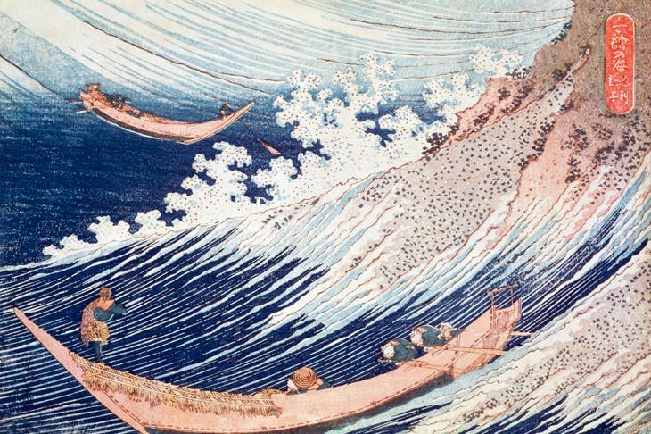 'Choshi in Soshu province', woodblock print from A Thousand Pictures of the Sea, c.1833, by Hokusai