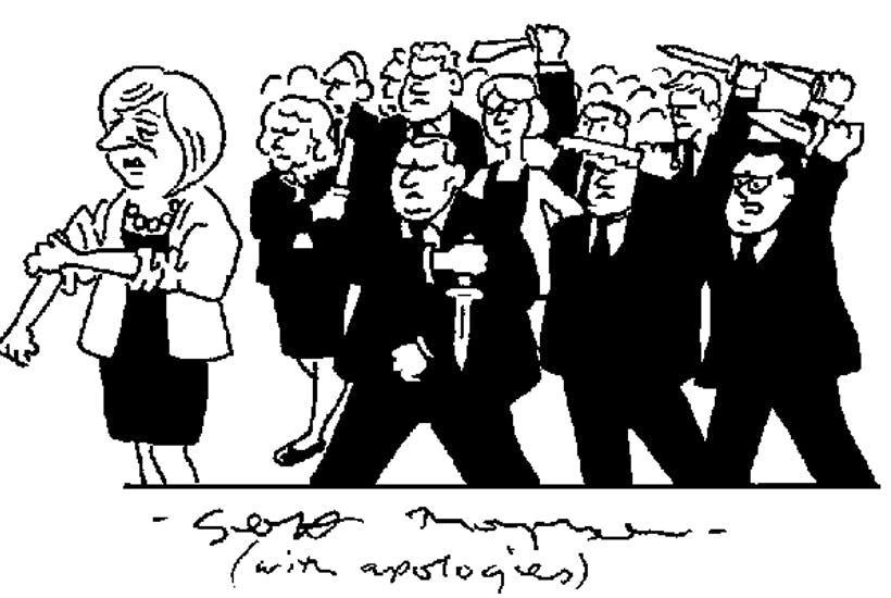 'All behind you, Theresa.'