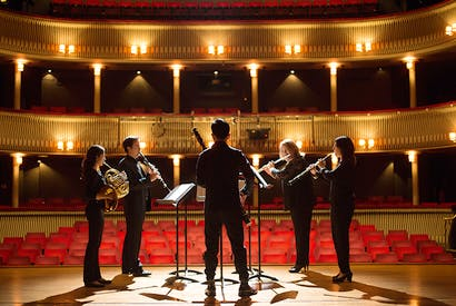 Fine tuned: RCM students practising in the stunning Britten Theatre