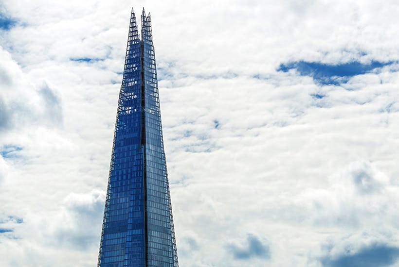 The Shard's angled, fractured sides change its appearance according to London's sky conditions