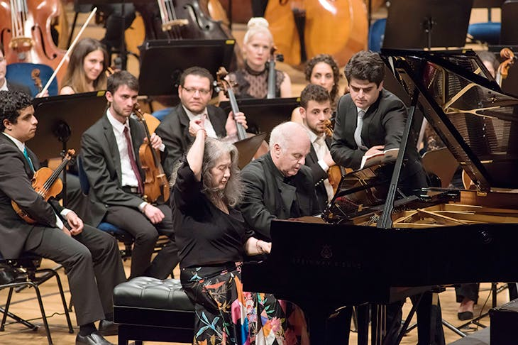 Power of two: Martha Argerich and Daniel Barenboim play a duet at this year's Lucerne Festival