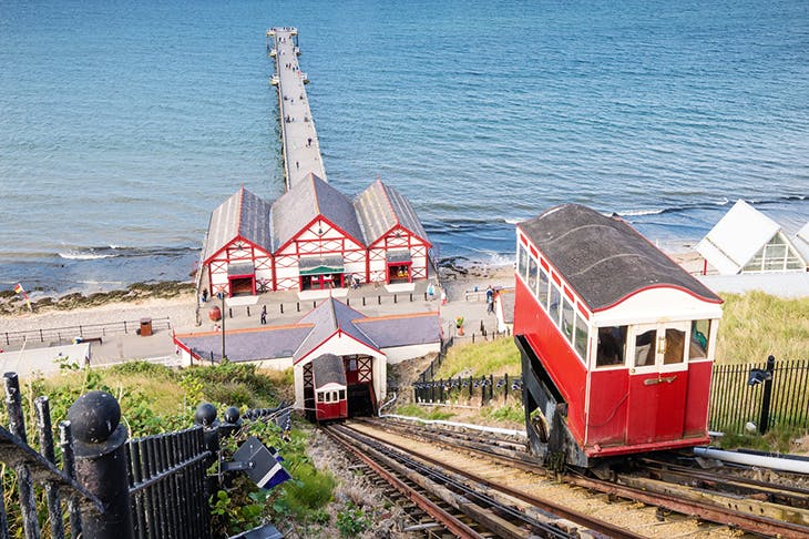 On the up: Saltburn-by-the-Sea's funicular railway