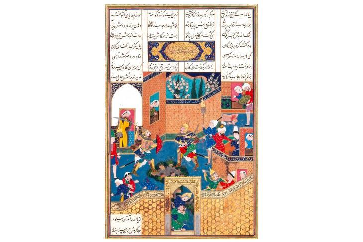 'Isfandiyar Slays Arjasp and Takes the Brazen Hold'. From Shah Tahmasp's Shahnama (Tabriz, 1520s-1530s)