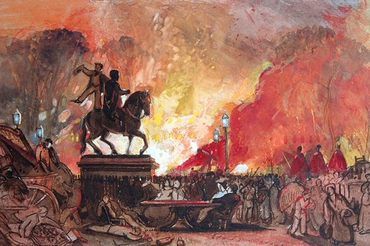 Bristol ablaze: anger at the Lords' rejection of the Second Reform Bill sparked riots in Queen's Square, Bristol, October 1831 (William James Muller)
