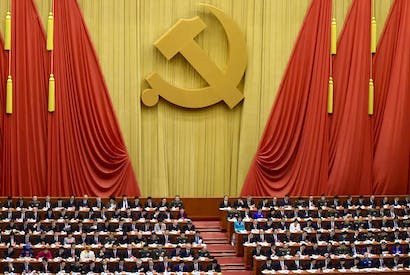 The Great Hall of the People in Beijing at the opening session of the Chinese Communist Party's five-yearly Congress (image: Getty)