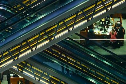 Escalators in the atrium of Richard Rogers's Lloyds building