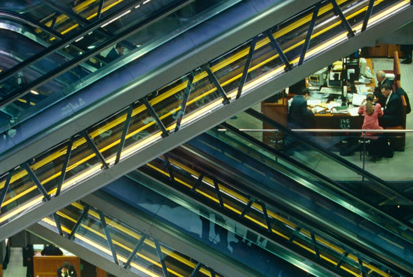 Escalators in the atrium of Richard Rogers's Lloyds building