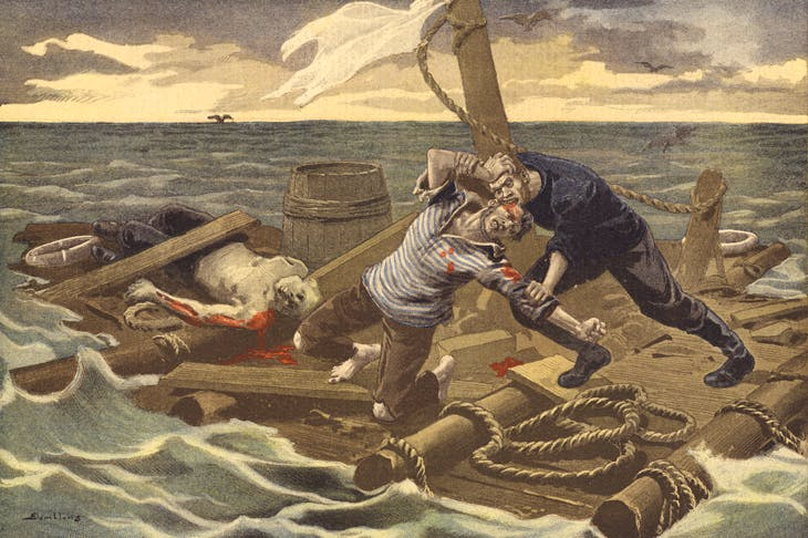 'A new Raft of the Medusa'.Two survivors, Maurice Anderson and Goodman Thomasen, of the Norwegian ship Drot turned on their German companion in an act of cannibalism — after which Anderson savagely attacked Thomasen (From Le Petit Journal, 1899.)
