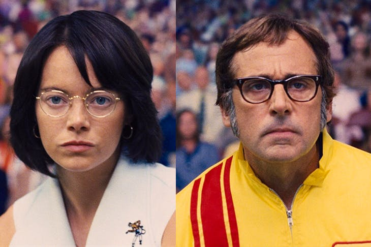 Mix and match: Emma Stone as Billie Jean King and Steve Carell as Bobby Riggs in Battle of the Sexes