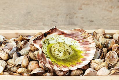 Scallops with seaweed butter, from The Sportsman