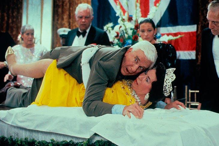 Leslie Nielsen and Jeannette Charles in The Naked Gun
