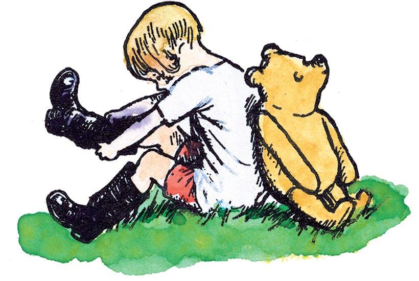 Bear necessities: line block print, 1970, hand coloured by E.H. Shepard
