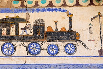Early 20th-century wall painting in the 'open-air museum' town of Mandawa, Rajasthan