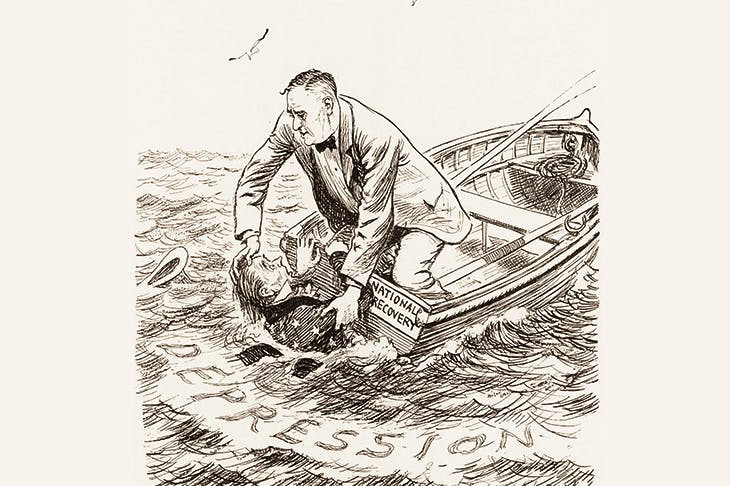 'The Illegal Act': Roosevelt, in a boat named National Recovery, struggles to save Uncle Sam from the Depression. The cartoon appeared in 1935, when the United States Supreme Court declared the National Recovery Administration unconstitutional
